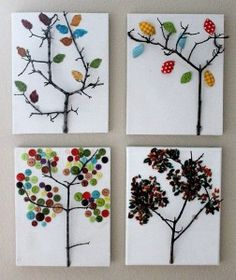 I love this tree craft idea!  This is great for an art class or for a tree unit.  You can make them with buttons or leaf stamps!