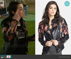 Bay's floral moto jacket on Switched at Birth.  Outfit Details: https://wornontv.net/65181/ #SwitchedatBirth