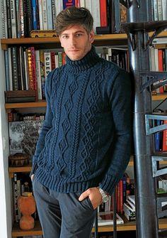 Ravelry: 587 - Turtleneck Sweater pattern by Bergère de France Sweater Outfits, Men Sweater, Crewneck Sweater, Aran Knitting Patterns, Wool Shop, Mens Jumpers, Pulls, Knitwear, Turtle Neck