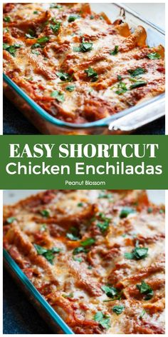 These quick prep chicken enchiladas are the perfect make ahead recipe for Taco Tuesday. You can assemble the entire dish and store it in the fridge or freeze and bake it later. Kids love the rotisserie chicken and savory tomato sauce. Don't miss the trick for keeping the tortillas nice and crispy! Make Ahead Freezer Meals, Easy Meals, Mexican Food Recipes, Dinner Recipes, Dinner Ideas, Best Frozen Meals, Fresh Salsa Recipe, Meals Kids Love, Chicken Enchiladas