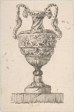 Design for a Vase (recto); Sketch of Small Vase (verso) Jacques François Joseph Saly,  French,ca. 1752