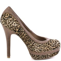 Strut your confidence all night long in these stunning heels from Baby Phat. Chance has a leopard print micro suede upper with a 4 1/2 inch heel and 1 inch hidden stacked platform. This closed toe pump has taupe trim and piping through out the entire style.