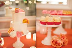 two-tiered white cake adorned with pink and gold flowers and checkered flag cupcake toppers - love this cake!