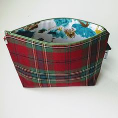 Knitting Bag, Large Shawl Project Bag, Crochet Project Bag, Tartan Bag, Gift for Mum, Unisex Project Bag, Yarn Storage, Zipped Pouch