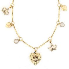 Goldtone Crystal and Faux Pearl Heart and Crown Charm Necklace