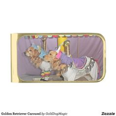 Golden Retriever Carousel Gold Finish Money Clip