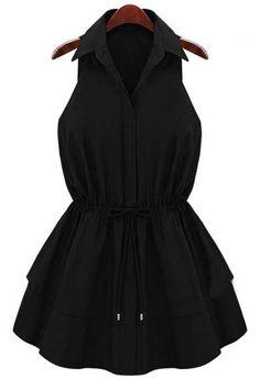 Black Lapel Sleeveless Drawstring Ruffles Dress