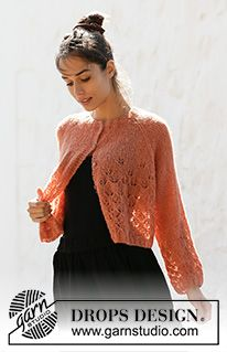 Late nights jacket / DROPS - free knitting patterns by DROPS design Knitting Patterns Free, Knit Patterns, Free Knitting, Finger Knitting, Knitting Machine, Drops Design, Cardigans For Women, Jackets For Women, Summer Knitting