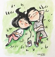 Cute couple relaxing & listening to music cute couple cartoon, cute couple drawings, love Music Drawings, Art Drawings Sketches Simple, Love Drawings, Cute Doodle Art, Cute Doodles, Cute Art, Couple Sketch, Cute Couple Drawings, Love Cartoon Couple