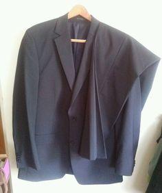 Michael Kors Black Double Vent Pinstripe 2 Button Wool 2 Piece Suit 42L 36W #MichaelKors #TwoButton