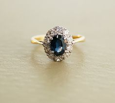 Antique Sapphire Ring - Platinum and 18k Yellow Gold with Diamonds