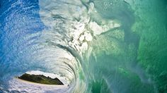vlny, krásně, uvnitř, oceán, hory