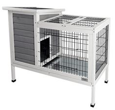 Petsfit Rabbit Hutch Grey, Guinea Pigs Cage, Bunny Hutch Wood for Indoor Use Rabbit Cages, Bunny Cages, Cat Cages, Rabbit Hutch Indoor, Guinea Pig Accessories, Dwarf Bunnies, Bunny Hutch, Rabbit Life, Small Rabbit