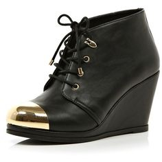 River Island Black metal toe cap wedge ankle boots found on Polyvore