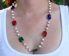 Pearl and Stone Vintage Costume Necklace