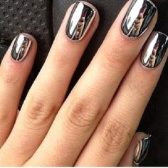 Our favorite nail designs, tips and inspiration for women of every age! Great gallery of unique nail art designs of 2017 for any season and reason. Find the newest nail art designs, trends & nail colors below. Metallic Nail Polish, Nail Polish Colors, Silver Nails, Nail Polishes, Shiny Nails, Polish Nails, Mirror Nail Polish, Chrome Nail Polish, Gel Nail