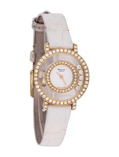 """Chopard """"Happy Diamond"""" Watch.Ladies 18K yellow gold 23mm with Swiss made quartz movement, diamond halo bezel featuring five floating happy diamonds, inner diamond set bezel, white dial, gold sword hands, white crocodile strap and signed tang buckle closure."""