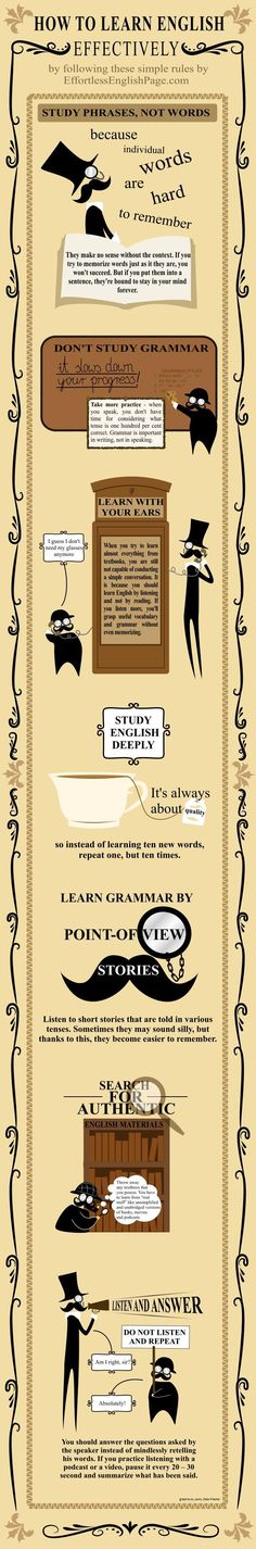 How To Learn English Effectively (Infographic) or any language for that matter . Learn English Grammar, English Language Learners, English Idioms, Education English, English Vocabulary, Teaching English, Fluent English, Art Education, English Tips