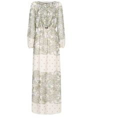 Paisley Print Chiffon Gown (8215 DZD) ❤ liked on Polyvore featuring dresses, gowns, gown, mango, white chiffon dress, long sleeve evening dresses, white gown, long sleeve chiffon dress and white evening dresses