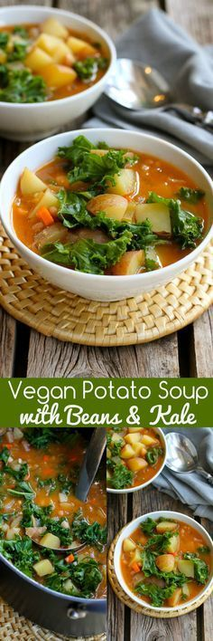Vegan Potato Soup Recipe with Beans & Kale Vegan Potato Soup with Beans and Kale…You probably have everything in your fridge and pantry to make this delicious, healthy soup recipe! Great for busy nights. 211 calories and 5 Weight Watchers SmartPoints Healthy Soup Recipes, Veggie Recipes, Whole Food Recipes, Vegetarian Recipes, Cooking Recipes, Healthy Meals, Healthy Weight, Lunch Recipes, Recipes Dinner