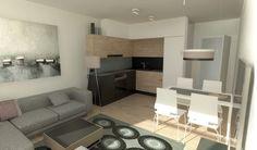Aranżacje wnętrz. Salon z aneksem kuchennym na 18 m kw.; aranżacja wnętrza…