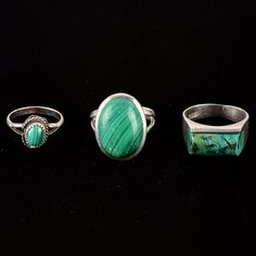 Collection of Sterling Silver Rings with Green Malachite Stones