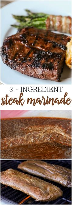 The only steak marinade recipe we ever use! It requires only three ingredients - Italian dressing, and Worcestershire sauce - and makes our steak taste SO amazing! Everyone always asks for this Easy Steak Marinade recipe because it's just that good! Steak Marinade For Grilling, Steak Marinade Recipes, Meat Marinade, Grilled Steak Recipes, How To Grill Steak, Grilling Recipes, Meat Recipes, Cooking Recipes, Grilled Meat