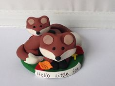 Playful Mommy and Baby Fox Cake Topper and Figurine by LemonRow, $28.00