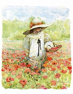 Holly Hobbie///love this entire image: the hat, the dress, the young girl gathering poppies.  so peaceful and natural