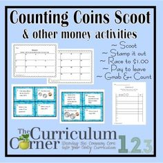 Counting Coins Activities Set 2 (with Scoot and other games) - practice activities for money with links to lots of other money freebies | The Curriculum Corner