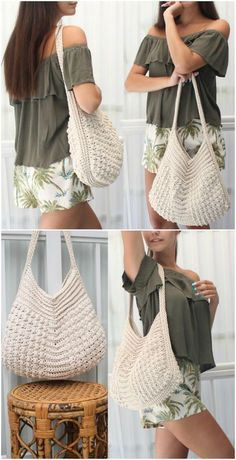 Crochet Boho Bag Pattern Collection – Ideas You'll AdoreYou can find Bag patterns and more on our website.Crochet Boho Bag Pattern Collection – Ideas You'll Adore Bag Crochet, Crochet Market Bag, Crochet Shell Stitch, Crochet Handbags, Crochet Purses, Crochet Clothes, Crochet For Beginners, Knitted Bags, Free Crochet Purse Patterns