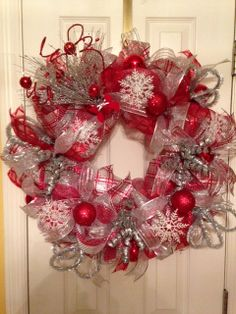 """Christmas Luxe"" mesh wreath on Etsy (PinkSugarplumCottage)"