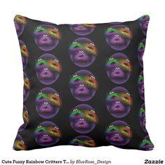 Cute Fuzzy Rainbow Critters Throw Pillow