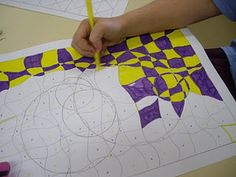 Op Art Lesson - overlapping shapes with cutting undulating lines - done in complementary opposites - I would do with yr 7 to reinforce colour and shape