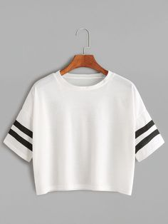Shop White Dropped Shoulder Seam Varsity Striped Crop T-shirt online. SheIn offers White Dropped Shoulder Seam Varsity Striped Crop T-shirt & more to fit your fashionable needs. Teenager Outfits, Outfits For Teens, Cool Outfits, Casual Outfits, Summer Outfits, Casual Dresses, Summer Dresses, Classy Outfits, Fashion Mode