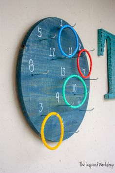 DIY Ring Toss Game DIY Ring Toss Game – The Inspired Workshop<br> A twist on the classic ring toss, this DIY ring toss game is wall mounted and offers many ways to play! Get the step by step instructions to make one! Diy Yard Games, Diy Games, Backyard Games, Outdoor Games, Party Games, Outdoor Activities, Family Games, Games For Kids, Diy For Kids