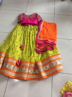 Neons never go wrong Half Saree Designs, Choli Designs, Lehenga Designs, Blouse Designs, Kids Indian Wear, Kids Ethnic Wear, Indian Party Wear, Indian Dresses, Indian Outfits