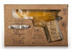 #Hijos de #Villa Tequila #Reposado Pistol - available from #Master of Malt. #Limited edition. And for good reason! This is the perfect gift for tequila lovers: tequila in a 'pistol' with two #tequila glasses...would make a fabulous addition to your #man cave bar! #unusual tequila packaging #alcohol #spirits