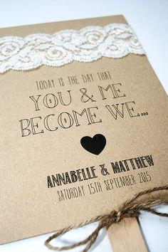 Wedding Program Fan Rustic Kraft and Lace by LittleIndieStudio