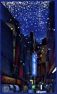 beautiful night in japan