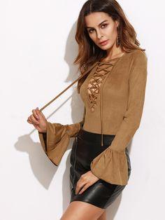 SheIn - SheIn Lace Up Plunge Neck Bell Cuff Bodysuit - AdoreWe.com