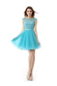 #blue #short #prom #dress Short/Mini Zipper A-line Organza Cocktail Dress