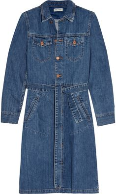 Madewell Belted Denim Shirt Dress This shirt dress is crafted from classic blue denim and defined with a self-tie belt at the waist. Roll the cuffs to enhance its relaxed feel