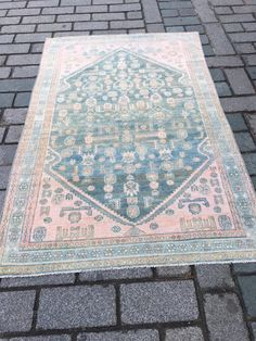 Excited to share the latest addition to my #etsy shop: Pink Turkish Carpet, Oushak Rug, Vintage Rug, 4.1x6.4 ft, Medium carpet, Distressed Carpet, Antique Rug, Boho Rug, Bath Rug, Kitchen Carpet