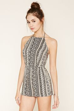 Abstract Print Halter Romper Forever 21 | Never wore rompers but would wear this one! Love the halter, print & esp. the back!