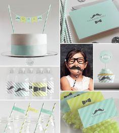 Printable Decorations, Straw Flags, Photo Props, Banner etc  // Baby Shower or First Birthday // Mint  Lime Mustaches + Bow Ties Collection...