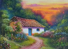 Pictures for all tastes. Still lifes, landscapes, abstract, nudes, caball … - Painting House Landscape, Landscape Art, Landscape Paintings, Watercolor Landscape, Watercolor Paintings, South American Art, Building Painting, Scenery Pictures, Nature Artists