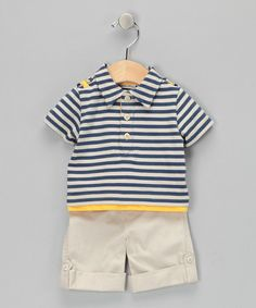 Take a look at this Navy Stripe Polo & Pants by Mini Muffin on #zulily today!