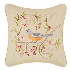 Bird on Green Pillow-16 x 16 square