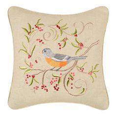 Bird on Green Pillow-16 x 16 square